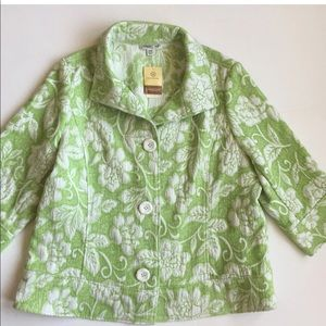Coldwater Creek 20W New Green Floral Blazer